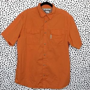 Columbia Orange Cotton Shirt Sleeve Shirt Size L